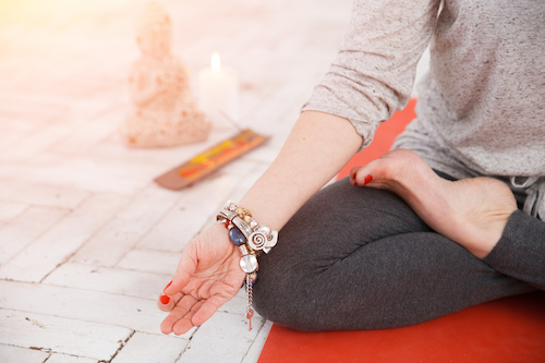 Woman having yoga meditation