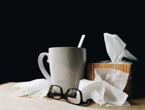 tea mug with tissues