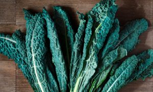 kale, a high protein vegetable, on a table