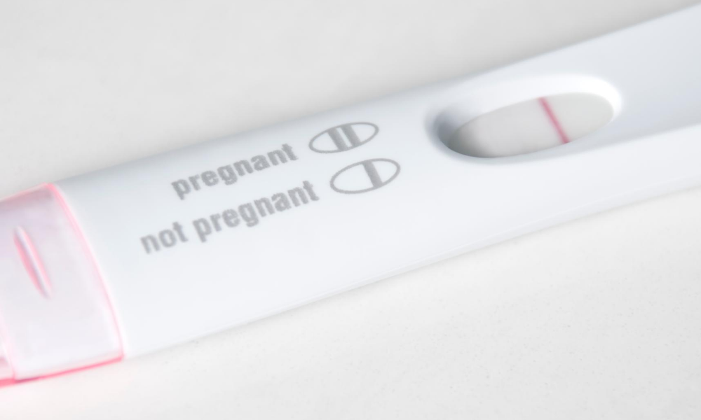 negative pregnancy test due to perimenopause.