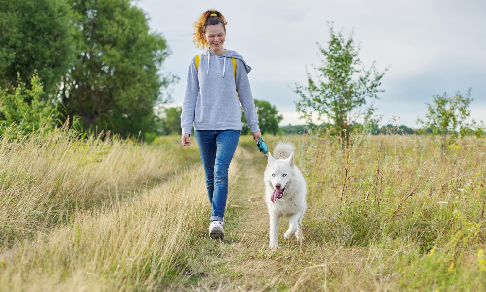 woman walking dog during daily morning routine