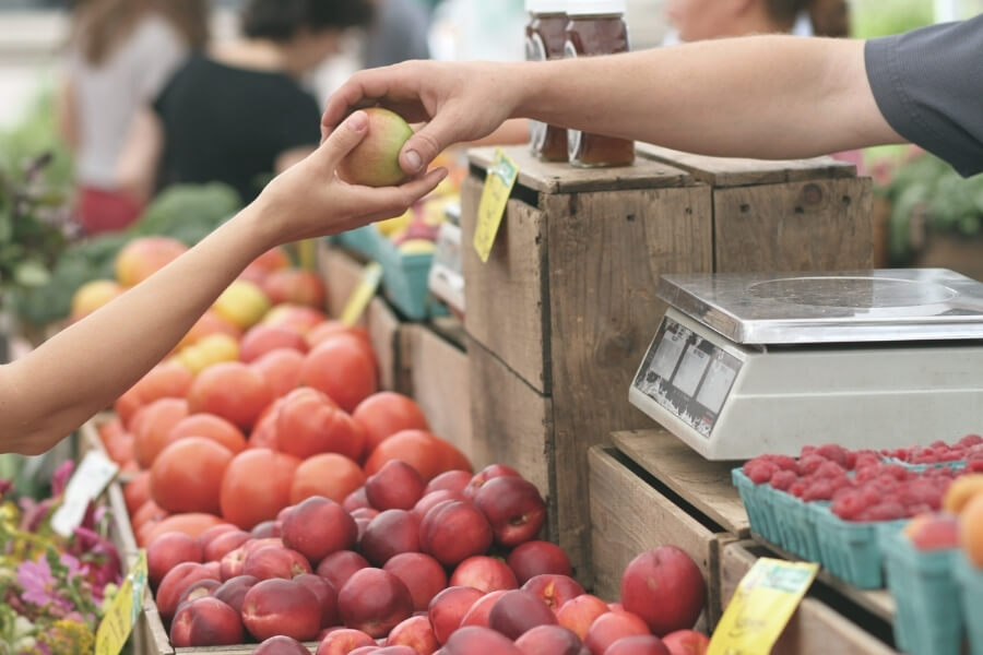 Buying at Farmers Market