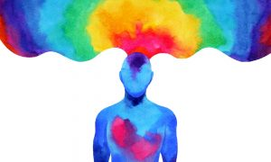Abstract art shows a blue human form with a red heart chakra and many rainbow colors blooming from the brain, illustrating the benefits of color therapy.