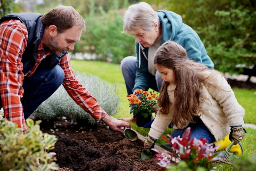Gardening with family