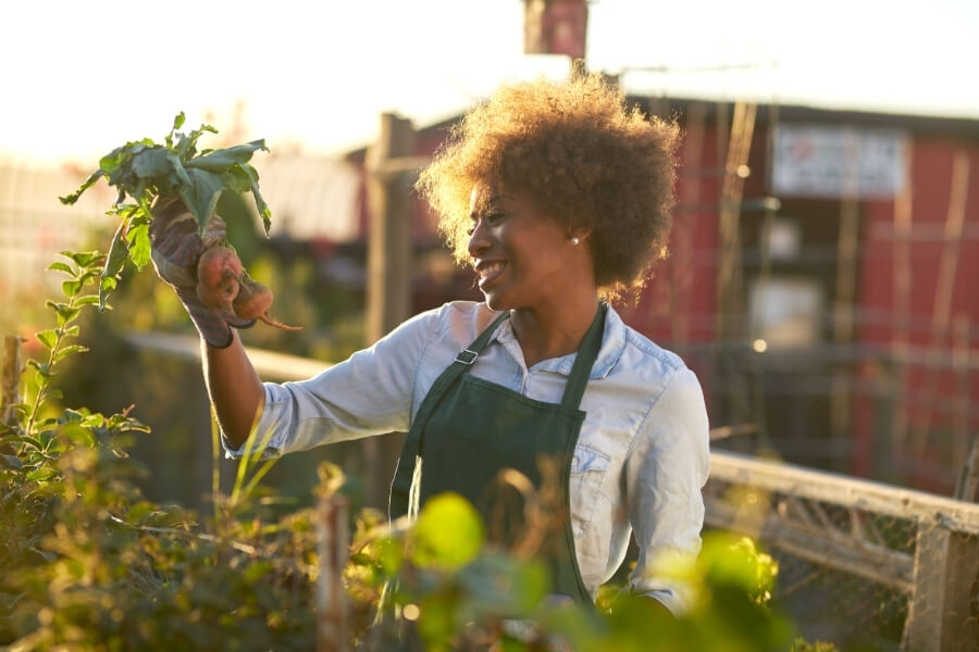 Woman is gardening