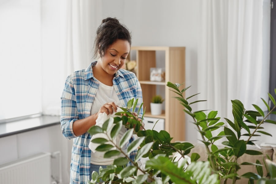 Woman with her Houseplants